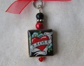 Mom Red Heart Scrabble Pendant