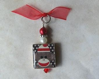 Sock Monkey in Red Charm Pendant