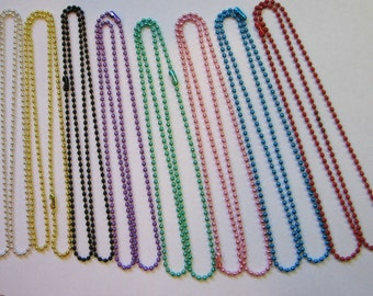 Ball Chain for Pendants and Charms Colored and Sterling Silver Plated  24 inches 2.4mm