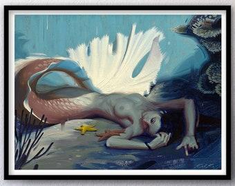 Shadowy Deep III, Mermaid - Print of Original Oil Painting, Fantasy Fine Art Home Wall Decor