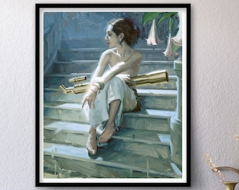 Observation - Allegory - Print of Original Oil Painting, Space Art, Transcendent Woman, Science Allegory, Fine Home Wall Decor