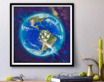 Overview Effect - Print of Original Oil Painting, Space Art, Earth Fine Home Wall Decor