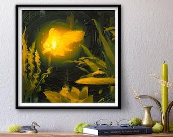 Bioluminescence - Goldfish - Print of Original Oil Painting, Glowing Light Fish, Animal Fine Art, Home Wall Decor