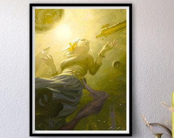 Nullius In Verba - Print of Original Oil Painting, Space Art, Transcendent Woman Astronaut Allegory Fine Home Wall Decor