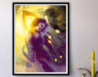 Magnificent Universe - Print of Original Oil Painting, Space Art, Transcendent Woman Astronaut Allegory Fine Home Wall Decor