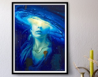 A Galaxy Within - Print of Original Oil Painting, Space Art, Transcendent Astronaut Fine Home Wall Decor