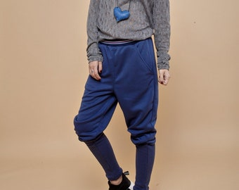 Harem Pants, Blue Pants, Womens Pants, Wide Leg Pants, Drop Crotch Pants, Baggy Pants, Low Crotch Pants, Aladdin Pants, Urban Clothing