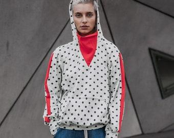 Hooded Hoodie, Sweatshirt Hoodie, Polka Dot Sweatshirt, Hooded Sweatshirt, Women Activewear, Sport Clothing, White Sweatshirt,Urban Clothing