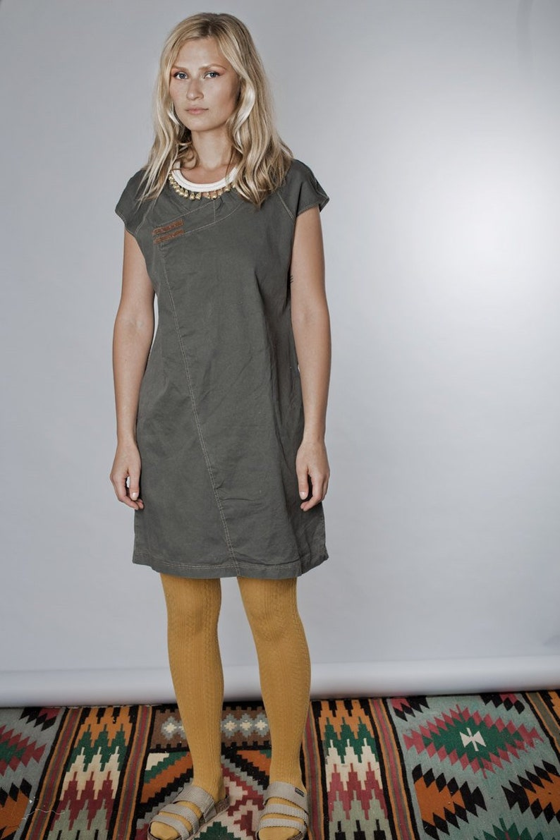ff7745778a70f Dress For Women, Khaki Dress, Olive Green Dress, Minimalist Dress, Short  Sleeved Dress, Short Dress, Party Dress, Urban Clothing, Japanese