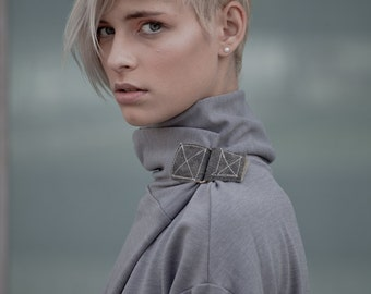 unique turtleneck sweater - grey sweater - turtle neck sweater - urban clothing - womens tops - womens sweaters - TurtleSweatPull