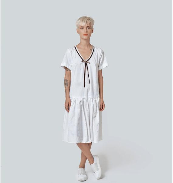 White Summer Dress, White Midi Dress, White Beach Dress, Short Sleeve  Dress, Women Dress, Plus Size Dress, Flare Dress, Loose Dress, Party