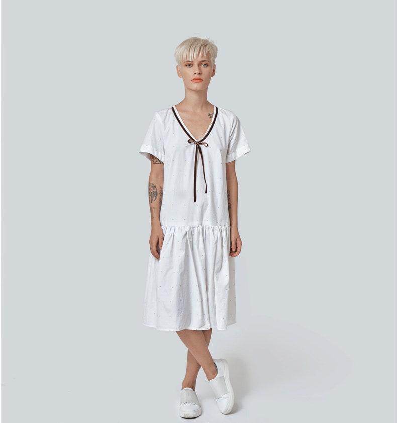 96b983e7b8268 White Summer Dress, White Midi Dress, White Beach Dress, Short Sleeve  Dress, Women Dress, Plus Size Dress, Flare Dress, Loose Dress, Party