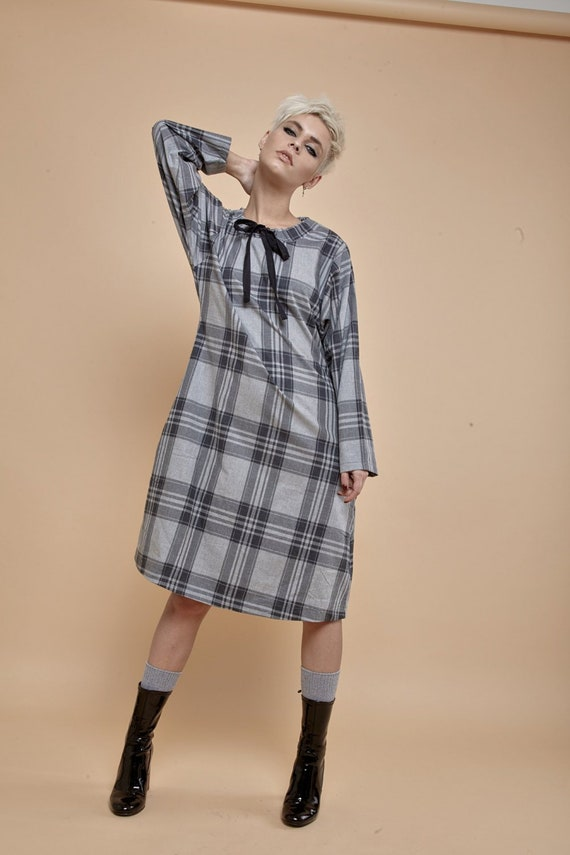 Midi Dress, Plaid Dress, Tartan Clothing, Plus Size Dress, Women Clothing,  Japanese Clothing, Gray Dress, Long Sleeve Dress, Party Dress