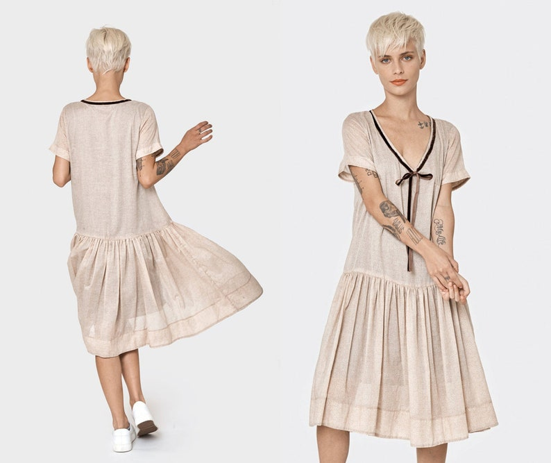 Oversize Dress, Plus Size Dress, Blouson Dress, Plus Size Clothing, Knee  Length Dress, Jersey Dress, Beige Dress, Hippie Dress, Cotton Dress