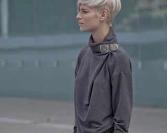versatile turtleneck sweater - cowl neck sweater - grey sweater - turtle neck sweater - urban clothing - womens tops - TurtleSweatPull