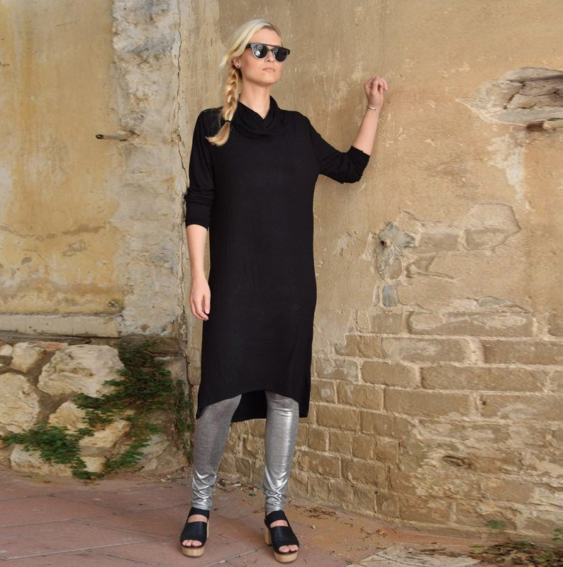 489c7dc010 Black Dress, Women Dress, Plus Size Clothing, Oversize Dress, Cowl Neck  Dress, Gothic Clothing, Knee Length Dress, Jersey Dress, Steampunk