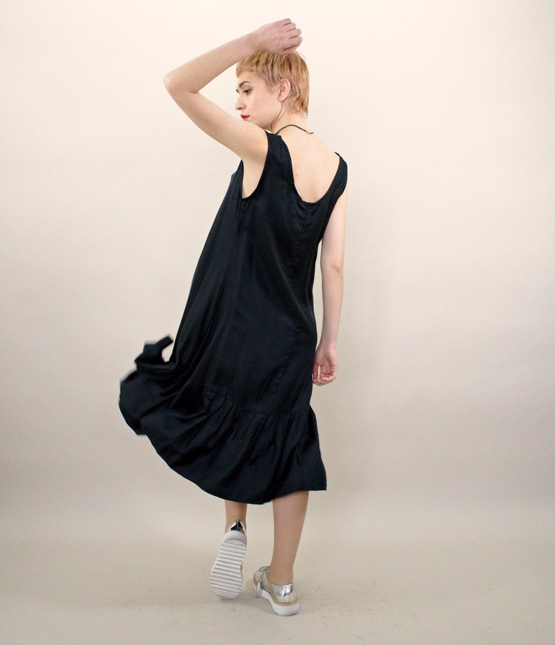 Black Dress, Midi Dress, Plus Size Clothing, Sleeveless Dress, Silk Dress,  Black Midi Dress, Evening Dress, Minimalist Dress,Oversized Dress