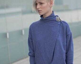blue turtleneck sweater - blue cowl neck sweater - blue sweater - turtle neck sweater - urban clothing - womens tops - TurtleSweatPull