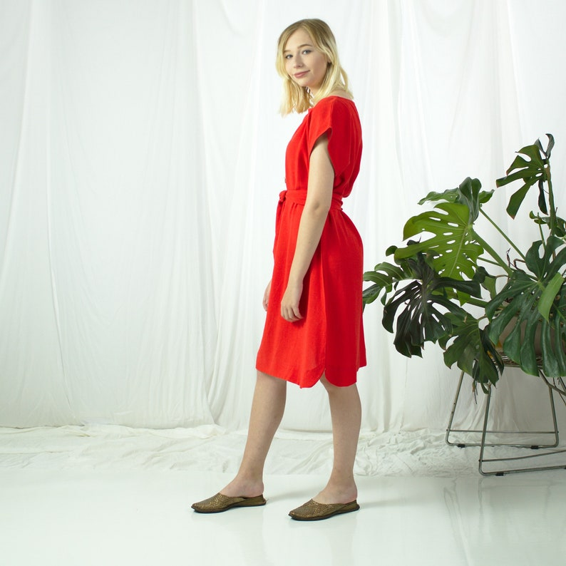 Summer Linen Tunic Linen Clothing Linen Tunic Dress Minimal Tunic Dress Red Tunic Dress Beach Linen Tunic,Short Sleeve Plus Size Linen