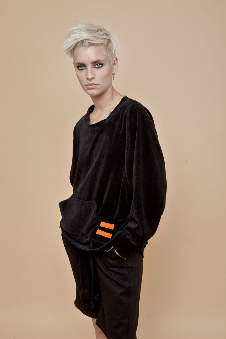 Winter Sweater, Velvet Sweater, Plus Size Clothing, Womens Sweater, Velvet  Clothing, Minimalist Sweater, Urban Clothing, Black Sweater