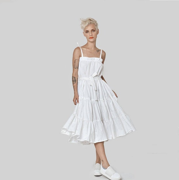 White Dress, Midi Dress, Plus Size Clothing, Alternative Wedding Dress,  Bridal Wedding Dress, Boho Wedding Dress, Strap Dress, Summer Dress