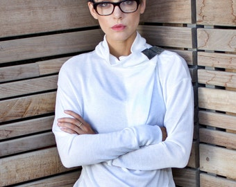 white turtleneck sweater - white cowl neck sweater - white sweater - turtle neck sweater - urban clothing - womens tops - TurtleSweatPull
