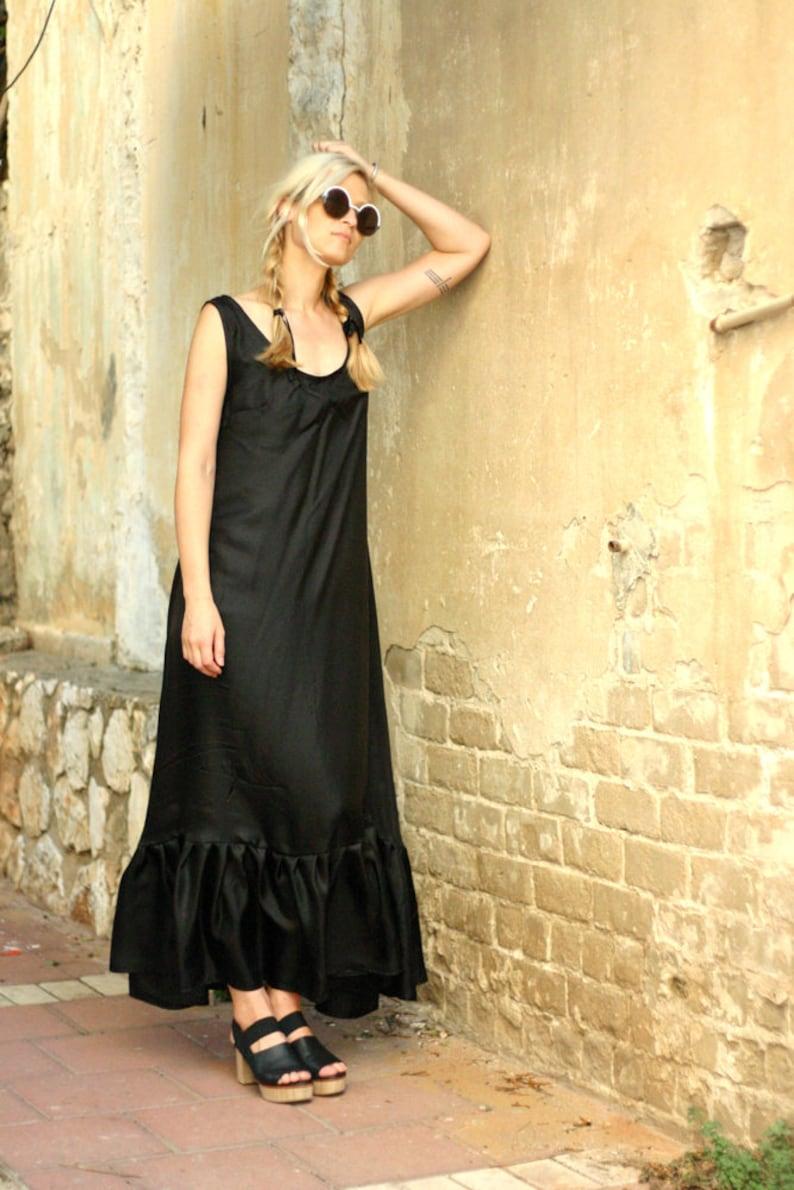 Kaftan Dress Bohemian Clothing Black Caftan Dress Tank Dress Maxi Dress Abaya Dress Womens Black Dress Silk Dress Long Maxi Dress