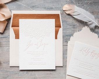 Mandala luxury letterpress boho wedding Invitation. Blush and copper.