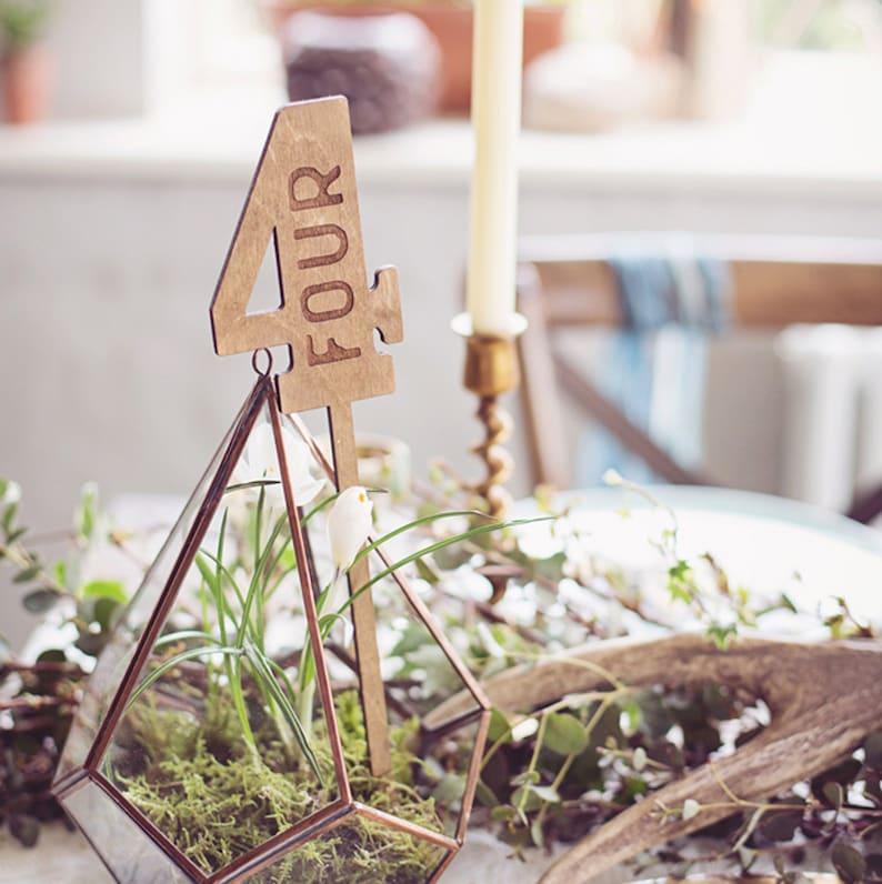 Rustic Wood Wedding Table Numbers Wax Finish image 0