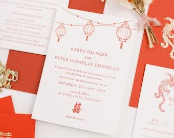 Joy Personalised Letterpress Wedding Invitations Double Happiness