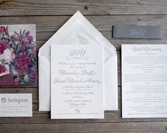 English Garden Letterpress Calligraphy Wedding Invitation // romantic script