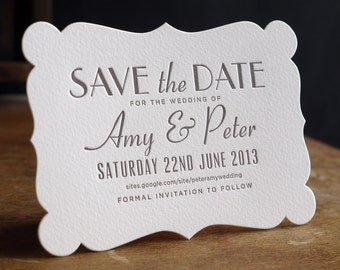 Astaire Art Deco Letterpress Save The Date