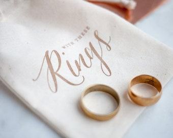 Rustic Gold Calligraphy Wedding Ring Bag, ring pillow alternative for Autumn Wedding