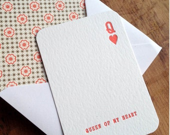 Queen of my Heart Letterpress Anniversary, Wedding or Valentines Card