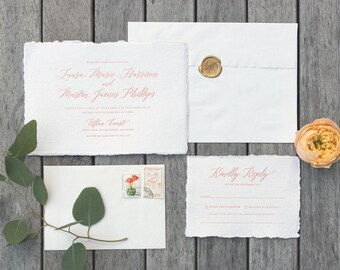 Rustic Romantic Wedding Invitation on Deckled edge paper. Letterpress tuscan wedding invitation