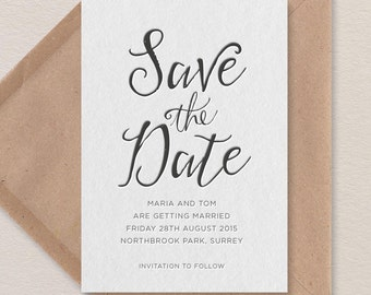 Modern Calligraphy Letterpress Save the Date. Style E sample
