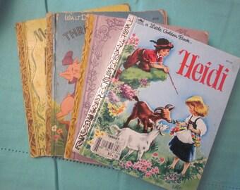 LITTLE GOLDEN BOOKS Heidi Three Little Pigs Prayers For Children Nursery Songs Collectibles Set Of Four