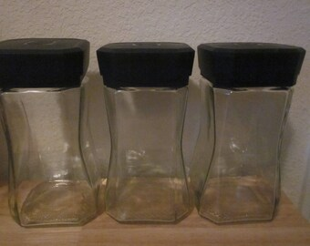 LARGE GLASS JARS  Instant Coffee Recycle Craft Supplies Lot Of Three