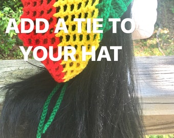 ADD-ON Tie added to a hippie bob Marley Rasta Jamaican mesh Slouch Beanie Tam hat