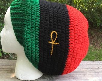 1611959d517 Small Medium Large Extra Large XL Red black green rbg Pan African Rasta  dreads dreadlocks Jamaican Bob Marley Slouch Beanie Tam Hat