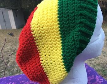 f0355cb2fd4 Small Medium Large XL red yellow green Rasta reggae hippie dreads  dreadlocks Jamaican Bob Marley Slouch Beanie Tam Hat