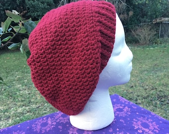 Burgundy red hippie Slouch Beanie Tam Hat