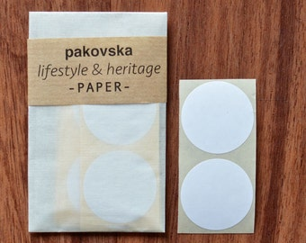 50 white paper circle stickers, round shaped label, medium sized, 35mm, geometric shape, gift decoration, birthday supplies, envelope seals