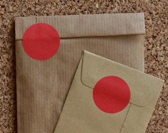 Round red sticker labels, medium sized, 30mm, geometric shape, envelope seals or birthday supplies 50pcs