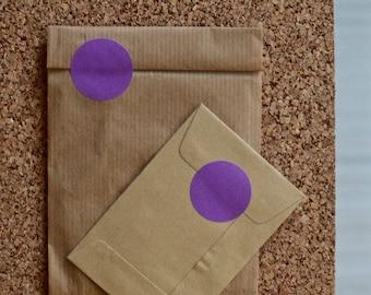 Round purple sticker labels, medium sized, 30mm, geometric shape, envelope seals or birthday supplies 50pcs