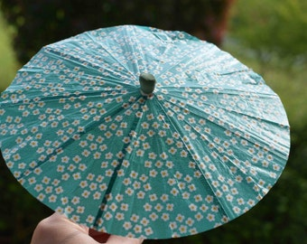 Outdoor entertaining party decoration, Summer party, Baby shower, Baby boy, Drink umbrella, Cup Cake Toppers, blue flower in big size 5pcs