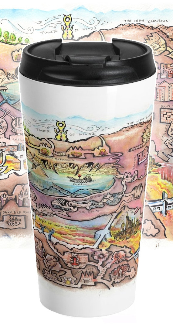 Megadungeon Map Travel Mug: The Lava Dungeon