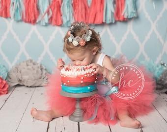Birthday Outfit | Birthday Outfits | 1st Birthday Outfit | First Birthday Outfit | Cake Smash Outfits | Coral Aquamarine Birthday Tutu Dress