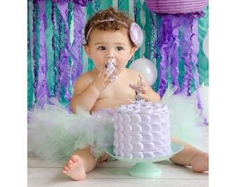 Mermaid Princess Tutu Birthday Outfit | 1st Birthday Dress | Baby Girls Tutu | Starfish | Under the Sea | SeaShell Lavender Aqua Mint Purple