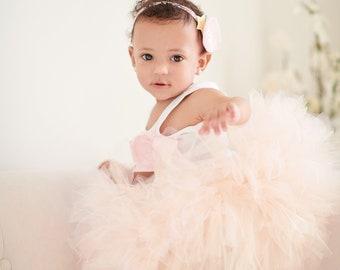 Flower Girl Dress   First Birthday Tutu Dress   Champagne Blush Pink Flower Girl Tutu   Fairy Dress